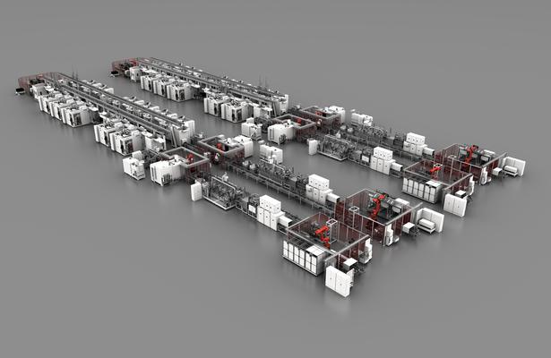 GROB-Systemanlage zur Bearbeitung von Getriebe- und Kupplungsgehäusen