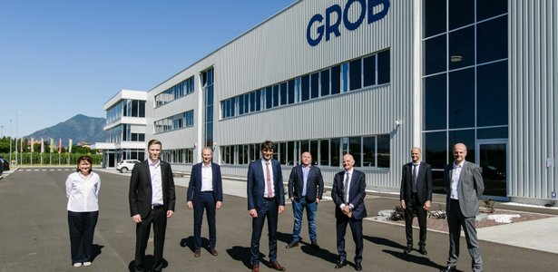 GROB delegation in front of GROB plant in Italy